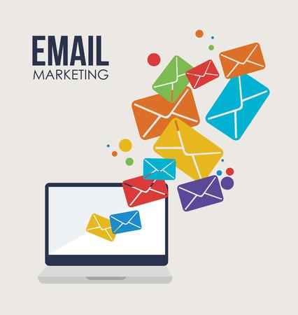 mail marketing: Marketing design over beige background, vector illustration Illustration