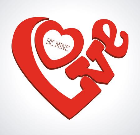 be mine: Love design over gray background, vector illustration Illustration