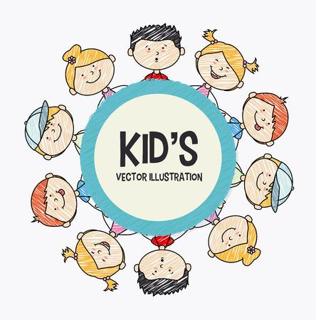 Kinderen ontwerpen op een witte achtergrond, vector illustratie