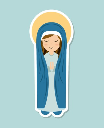 Holy Mary design over blue background Ilustração