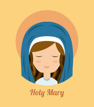 immaculate: Mary design over yellow background, vector illustration