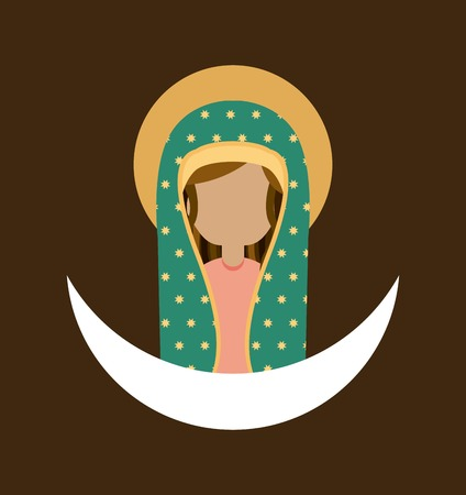 virgin mary: Mary design over brown background, vector illustration