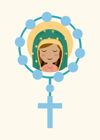 różaniec: Święty wzór Maryi nad beżowym tle, ilustracji wektorowych
