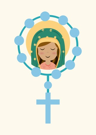 Holy Mary design over beige background, vector illustration Ilustração