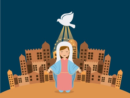 immaculate: Holy Mary design over blue background, vector illustration Illustration