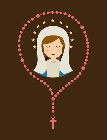 rosary: Holy Mary design over brown background, vector illustration