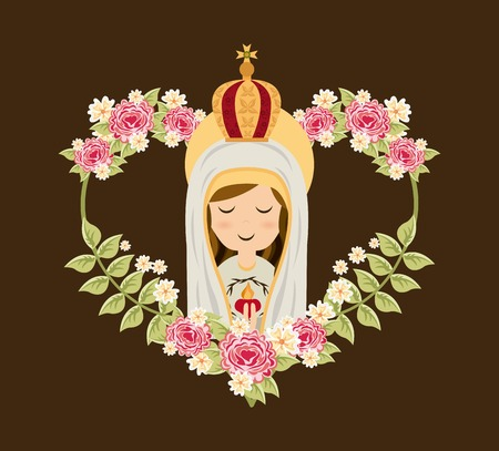 Holy Mary design over brown background, vector illustration