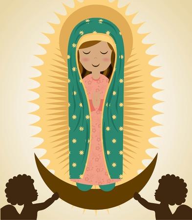 Heilige Maria ontwerp over beige achtergrond, vector illustration Stock Illustratie
