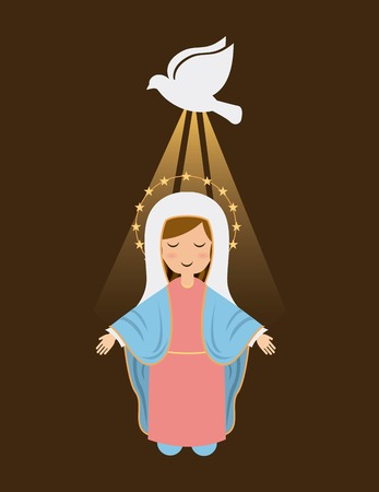 immaculate: Holy Mary design over brown background