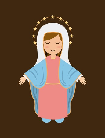 immaculate: Holy Mary design over brown background, vector illustration