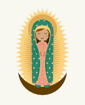 virgen maria: Diseño de María Santísima sobre fondo blanco, ilustración vectorial