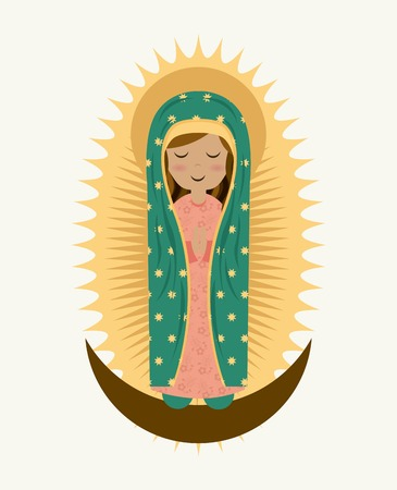 catholic church: Holy Mary design over white background, vector illustration