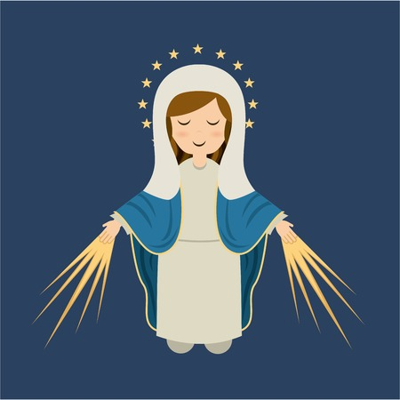 Holy Mary design over blue background Illustration