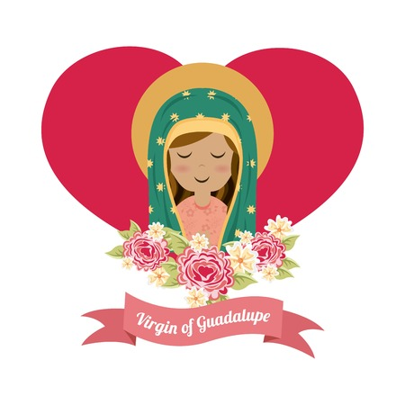 Holy Mary design over white background Vector