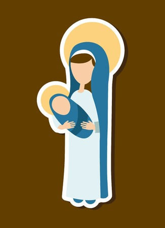 Holy Mary design over brown background Vector