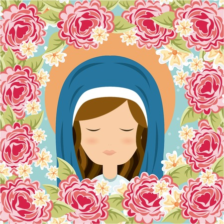 holy mary: Holy Mary design over floral background, vector illustration