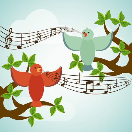 pentagramma musicale: Progettazione di uccello su sfondo paesaggio
