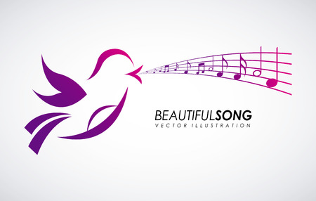 pentagramma musicale: Disegno uccello su sfondo grigio
