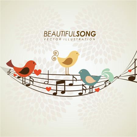 pentagramma musicale: Disegno dell'uccello su sfondo beige,