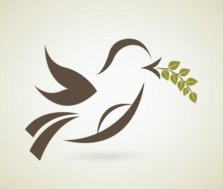 dove peace: Bird design over beige background, vector illustration Illustration