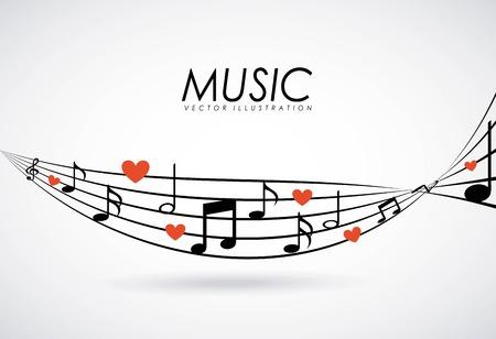 Diseño de la música sobre fondo gris, ilustración vectorial
