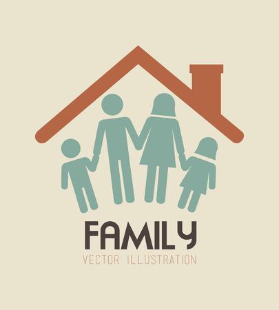familia unida: Dise�o de Familia sobre fondo beige, ilustraci�n vectorial Vectores