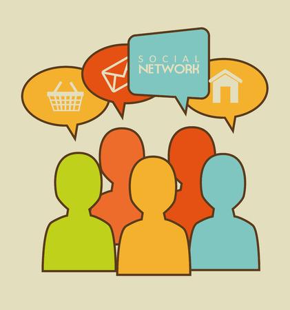socializando: Dise�o de la red social m�s de fondo beige, ilustraci�n vectorial Vectores