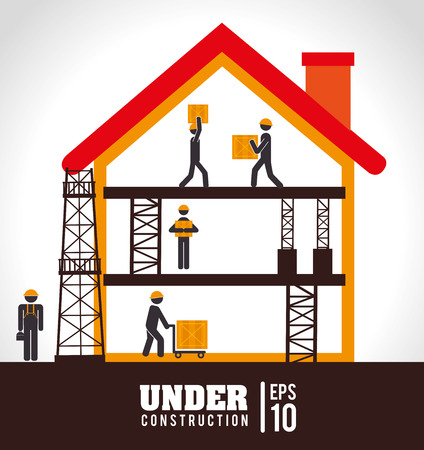 box construction: Under construction design over white background