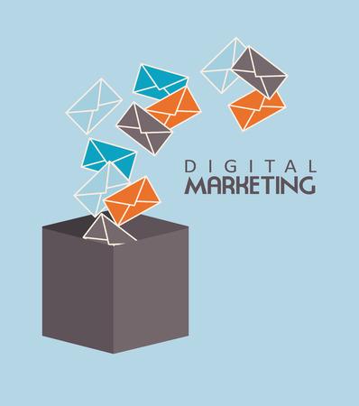 Email design over blue background, Vector