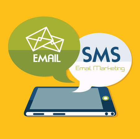 Email design over yellow background, Vector