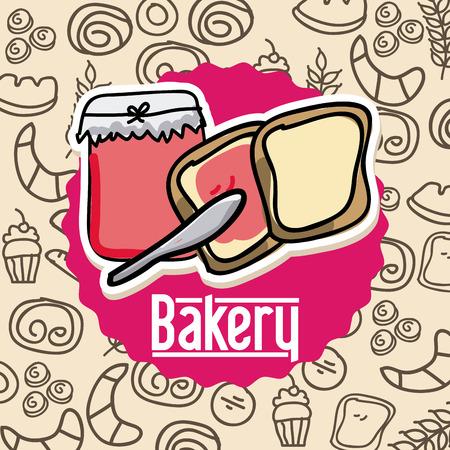 toasted bread: Bakery design over beige background, vector illustration