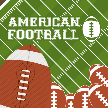 american football background: Football design over green background, vector illustration