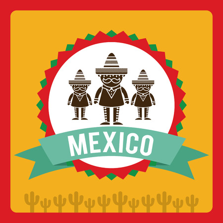 mariachi: Mexico design over red background,vector illustration