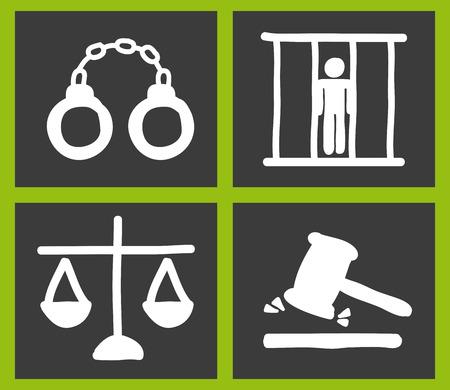 tribunal: Law design over green background,vector illustration Illustration