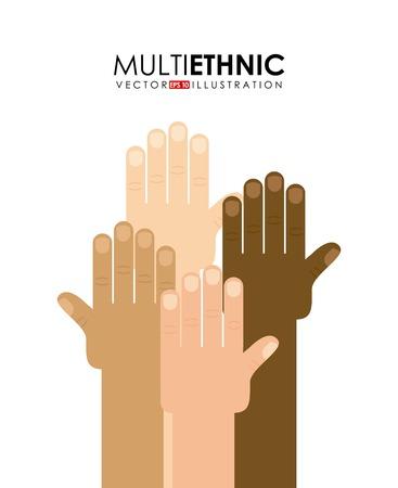 multiethnic: Multiethnic design over white background, vector illustration