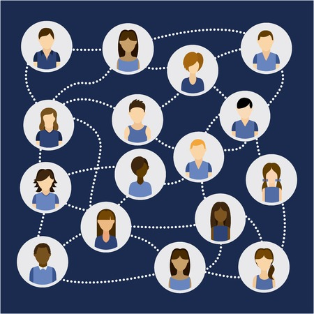 socializing: Social network design over blue background, vector illustration Illustration