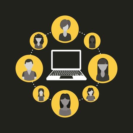 socializando: Dise�o de la red social sobre fondo negro, ilustraci�n vectorial