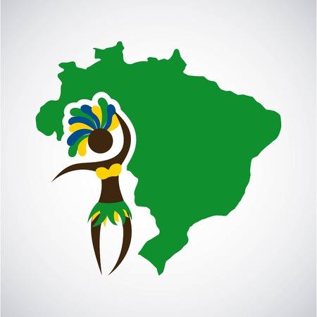 Brazil design over gray background, vector illustration
