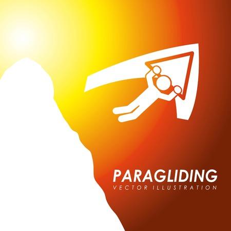 paragliding: Paragliding design over orange background, vector illustration