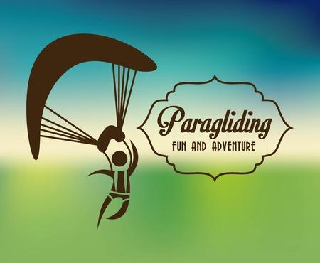 paragliding: Paragliding design over blue background, vector illustration