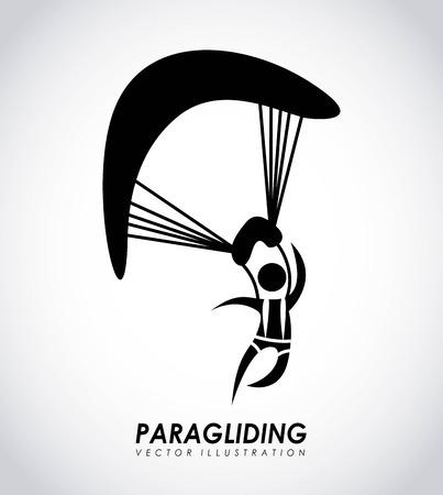 fallschirmj�ger: Paragliding Design �ber grauem Hintergrund, Vektor-Illustration