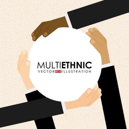 multiethnic: Multiethnic design over beige background, vector illustration Illustration
