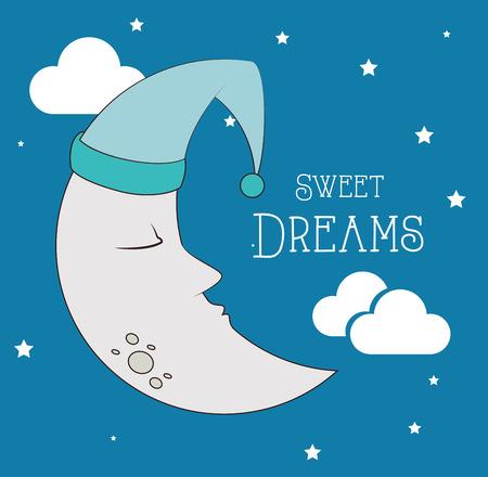 Un buen diseño de la noche sobre fondo azul, ilustración vectorial Foto de archivo - 29116142
