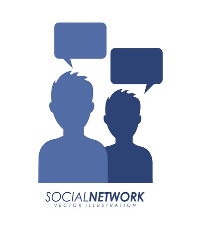 socializing: Social network design over white background, vector illustration