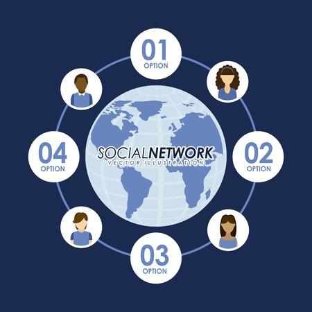 socializando: Dise�o de la red social m�s de fondo azul, ilustraci�n vectorial Vectores