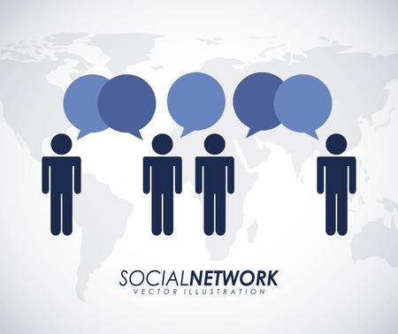 social net: Social network design over white background, vector illustration