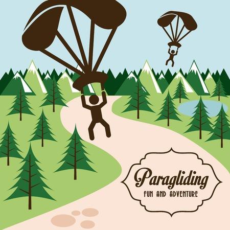 paragliding: Paragliding design over landscape background, vector illustration