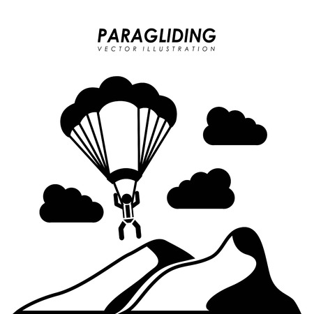 Paragliding design over white background, vector illustration