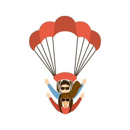 paratrooper: Paragliding design over white background, vector illustration