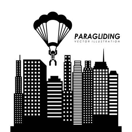 paragliding: Paragliding design over cityscape background, vector illustration